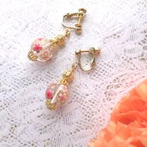 Japanese Pattern Natural Stone Earrings (Crystal, Cherry Tree)