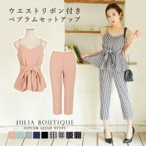 [New Color] 2 Piece Set / Peplum Tunic w / Waist Ribbon Set / 18092