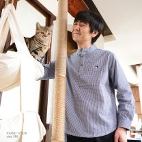 muezza Shirt gingham check BL for mens < HACHI >