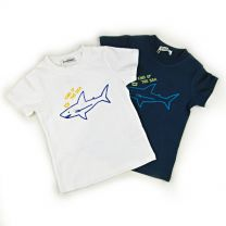T-Shirt Shark Pattern Off White / Navy 80 / 90 / 95 / 100 / 110 / 120 / 130