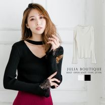 Lace Sleeve Opening Bust Knit Top / 520133