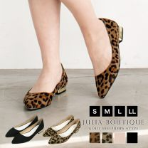 Gold Heel Suede Material Flat Pumps, Slip-on, Leopard Pattern / 550009