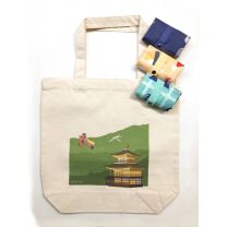 Foldable Eco Bag (Kyoto Pattern) 3 Pieces & Canvas Bag (Kinkakuji) 1 Pieces Set