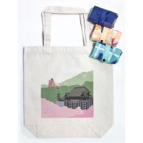 Foldable Eco Bag (Kyoto Pattern) 3 Pieces & Canvas Bag (Kiyomizudera Temple) 1 Pieces Set