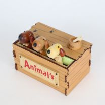 Wooden Crate Animals (Dog) Music Box