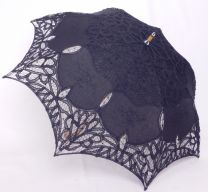 Made in Japan Parasol Battenberg Lace x Embroidery 24-5244 20 Black