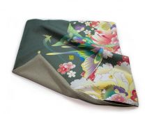 "Kaga Yuzen / Japanese Pattern Cushion Cover ""Butterflies and Flowers / Moss Green"""