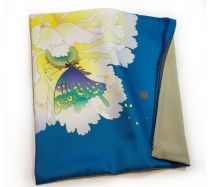 "Kaga Yuzen / Japanese Pattern Cushion Cover ""Peony and Butterflies / Blue"""