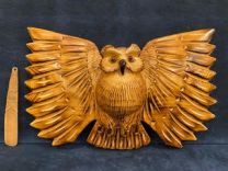 """""""Made by Toshiaki Fukura"""" with Owl Wall hanging and Japanese lime finish Grilled Wings No. 12 (E-type)"""