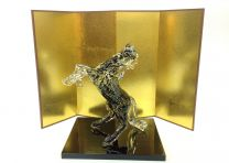 [Delivered from Otaru, Glass Town] Luxurious. Horse ornament with gold leaf (with Folding Screen and Stand) Black